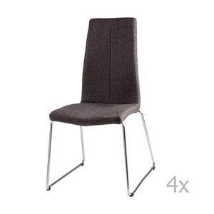 Sada 4 tmavě šedých  jídelních židlí sømcasa Aora