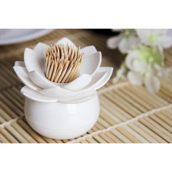 Stojánek na párátka QUALY Lotus Toothpick, bílý-bílý