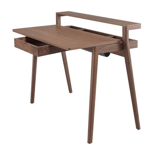 Pracovní stůl z ořechového dřeva s výsuvkou deskou a zásuvkou Wewood - Portuguese Joinery Secreta
