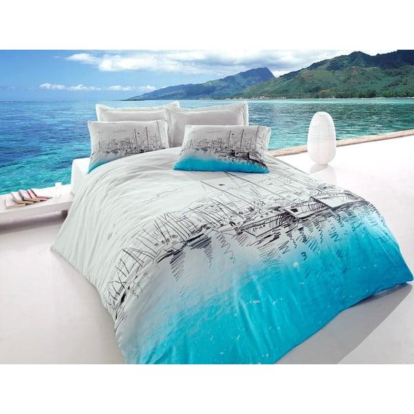 Lenjerie de pat cu cearșaf din bumbac pentru pat dublu Marina, 200 x 220 cm