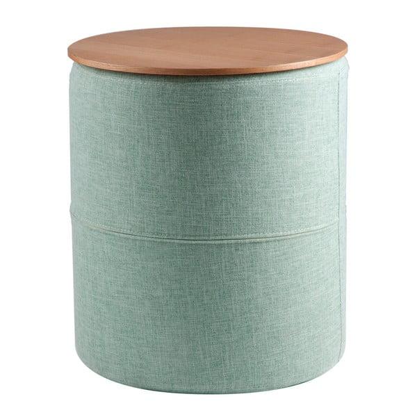 Jasnoniebieski stolik z blatem w dekorze drewna dębowego sømcasa Leo, ø45cm