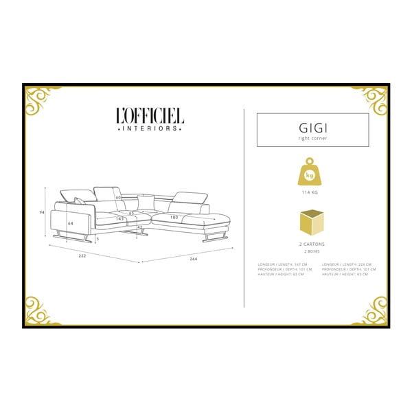Pudrově růžová rohová pohovka s lenoškou na pravé straně L'Officiel Gigi Big