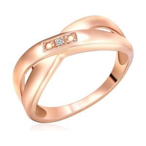 Stříbrný prsten v barvě růžového zlata s pravým diamantem Tess Diamonds Pax, vel. 56