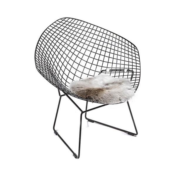 Pernă pentru scaun, din piele de ren Davam, 35 x 35 cm, alb-maro
