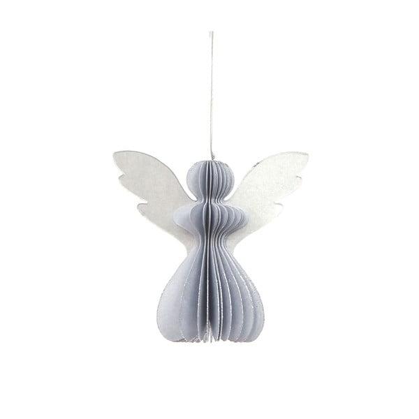 Papierowa ozdoba świąteczna w kształcie anioła w kolorze srebra Only Natural, 12,5 x 7,5 cm