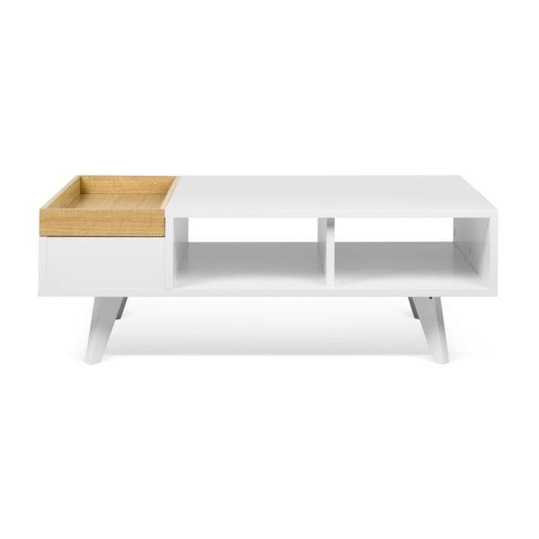 Platô fehér dohányzóasztal tömör fa elemekkel - TemaHome