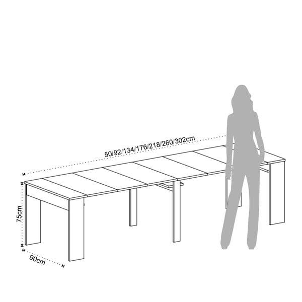 Bílý dřevěný stůl s 6 přídavnými prodlouženími Tomasucci Charlie, 75x90x50cm