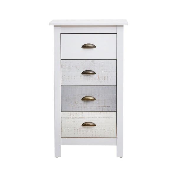 Comodă înaltă cu 4 sertare Marckeric Romantica, 46 x 80 cm, alb - gri