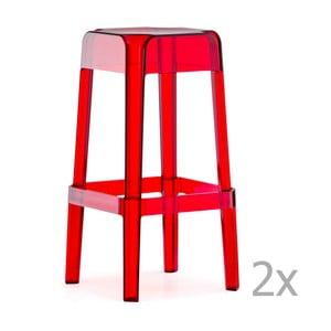Sada 2 transparentních červených barových židlí Pedrali Rubik