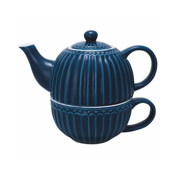 Tmavě modrá konvice na čaj s hrnkem Green Gate Alice