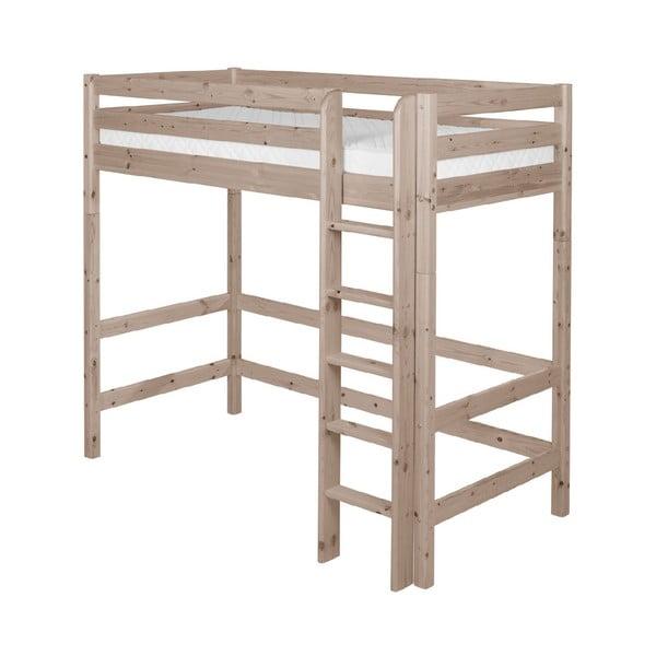 Brązowe wysokie łóżko dziecięce z drewna sosnowego Flexa Classic, 90x200 cm