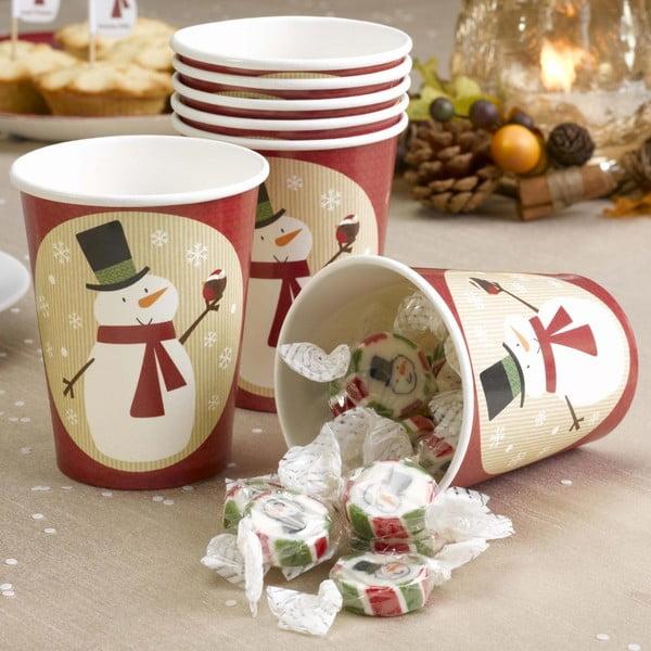 Zestaw 8 kubków papierowych Neviti Let It Snow Snowman, 200 ml