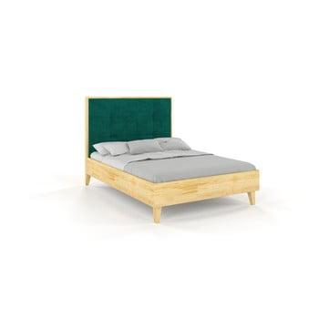 Pat din lemn de pin Skandica Frida, 160 x 200 cm, natural-verde imagine