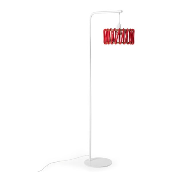 Macaron állólámpa fehér konstrukcióval és kis piros lámpabúrával - EMKO