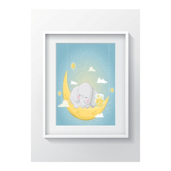 Nástěnný obraz OYO Kids Elephant Sleeping On The Moon, 24 x 29 cm