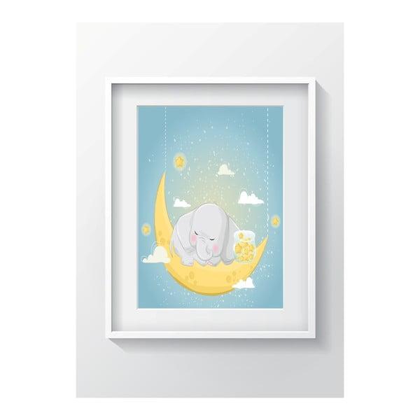 Nástenný obraz OYO Kids Elephant Sleeping On The Moon, 24 x 29 cm