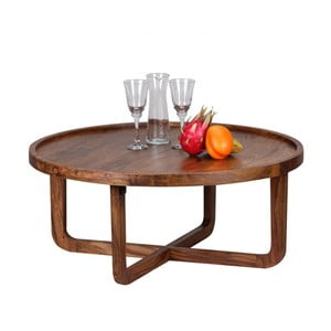Konferenční stolek z masivního sheeshamového dřeva Skyport BOHA, ⌀ 85 cm
