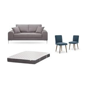 Set dvoumístné hnědé pohovky, 2modrých židlí a matrace 140 x 200 cm Home Essentials