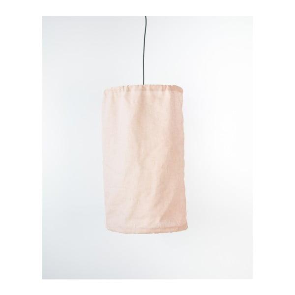 Rózsaszín lenből és fémből készült függőlámpa, ø 35 cm - Surdic