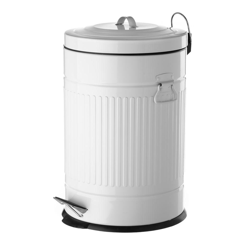 Bílý odpadkový koš z kovu Unimasa, 20 l Unimasa