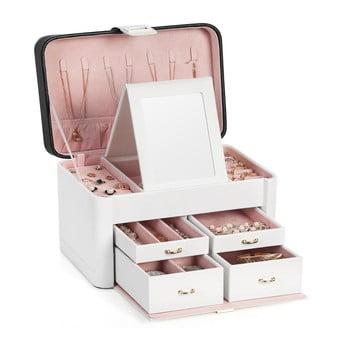 Cutie de bijuterii din lemn cu 4 sertare Songmics, alb imagine