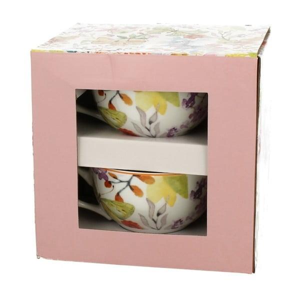 Sada 2 porcelánových šálků s podšálkem Duo Gift Cubic, 180 ml