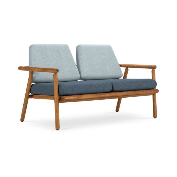 Canapea cu 2 locuri pentru exterior, construcție lemn masiv de salcâm Calme Jardin Capri Premium, albastru deschis - albastru închis