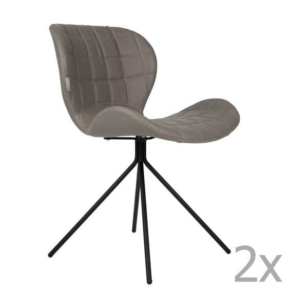 Sada 2 šedých židlí Zuiver OMG LL