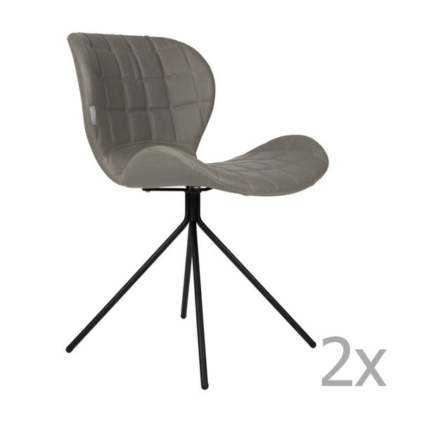 Set 2 scaune Zuiver OMG LL, gri