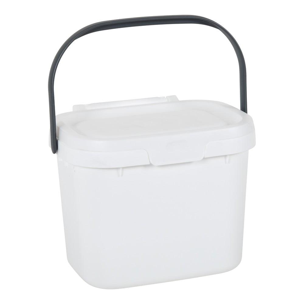Bílý víceúčelový plastový kuchyňský kbelík s víkem Addis, 24,5 x 18,5 x 19 cm
