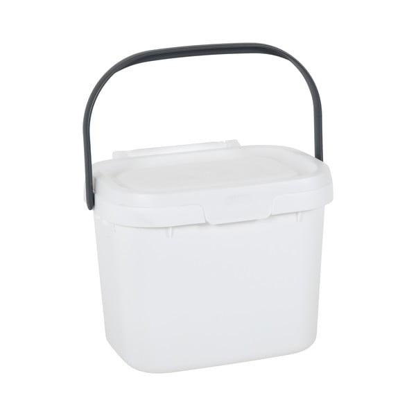 Găleată multifuncțională din plastic, cu capac, pentru bucătărie Addis, 24,5 x 18,5 x 19 cm, alb