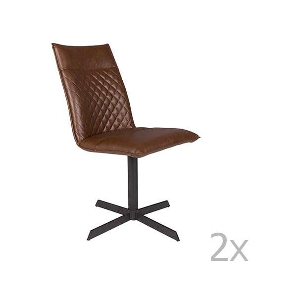 Set 2 scaune White Label Ivar, maro