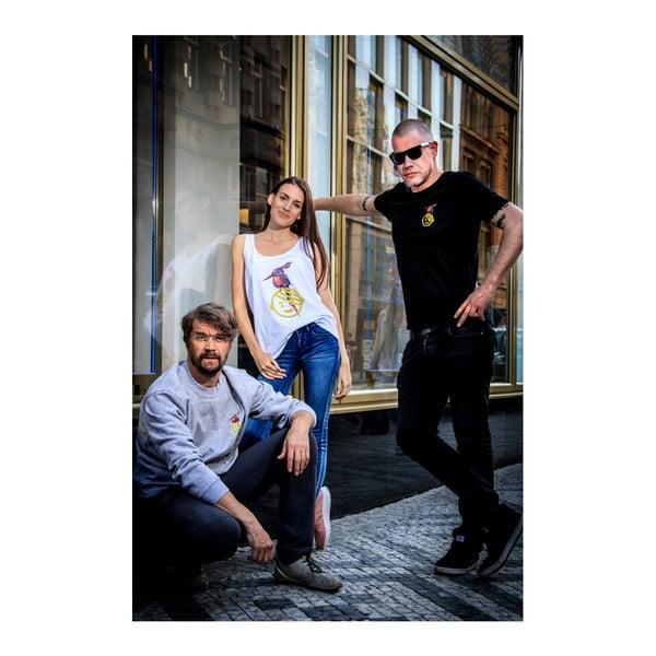 Dámské bílé triko z organické bavlny s motivem Dobrá energie od Dana Bárty & Vladimíra 518 pro KlokArt, vel.L