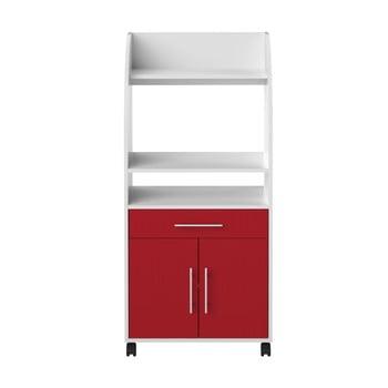Sistem depozitare pe roți pentru bucătărie, cu rafturi TemaHome Jeanne, roşu - alb imagine