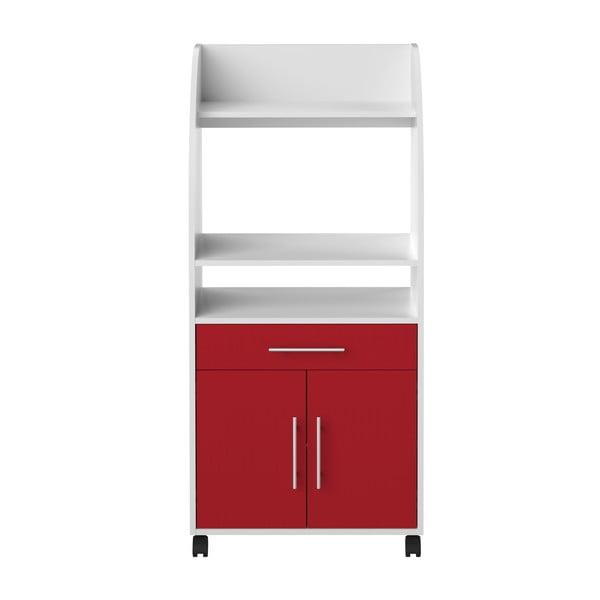 Sistem depozitare pe roți pentru bucătărie, cu rafturi TemaHome Jeanne, roşu - alb