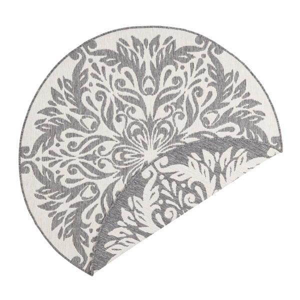 Covor adecvat pentru exterior Bougari Madrid, ⌀ 140 cm, gri-crem