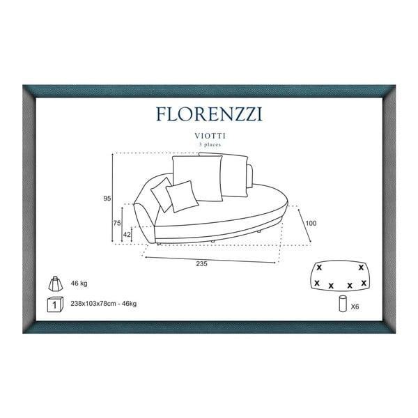 Šedo-žlutá pohovka pro tři Florenzzi Viotti Light s opěradlem na levé straně