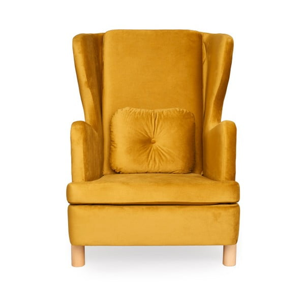 Oranžové kreslo ušiak Skandic Ingrid Gold