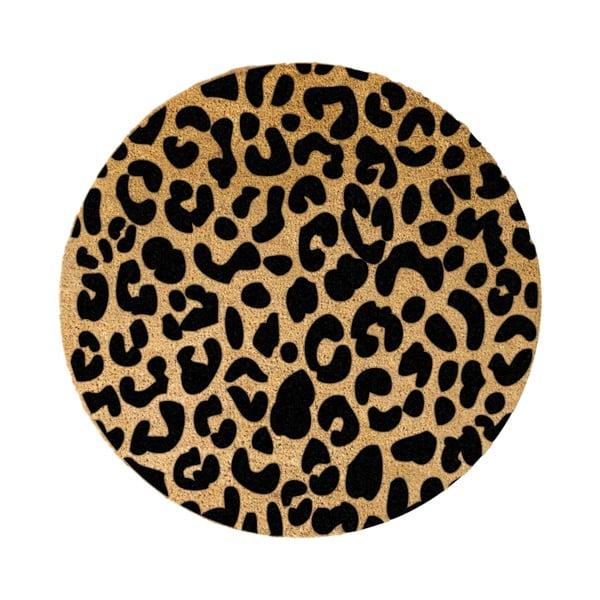 Černá kulatá rohožka z přírodního kokosového vlákna Artsy Doormats Leopard, ⌀70cm