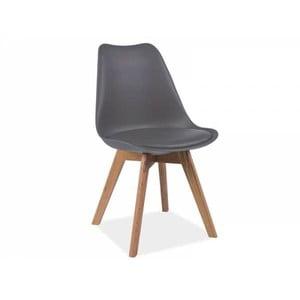 Šedá židle s dubovými nohami Signal Kris