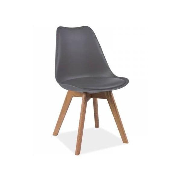 Šedá židle s bukovými nohami Signal Kris