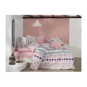 Lenjerie de pat din bumbac cu cearșaf Mystical Powder, 200 x 220 cm