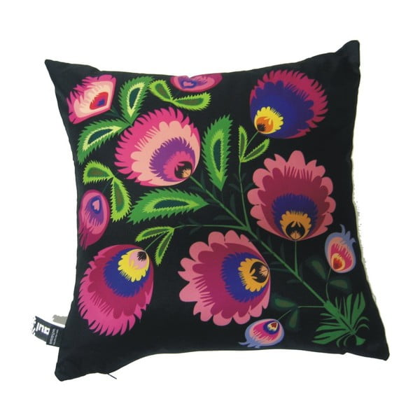 Polštář Černo-fialové květiny, 40x40 cm