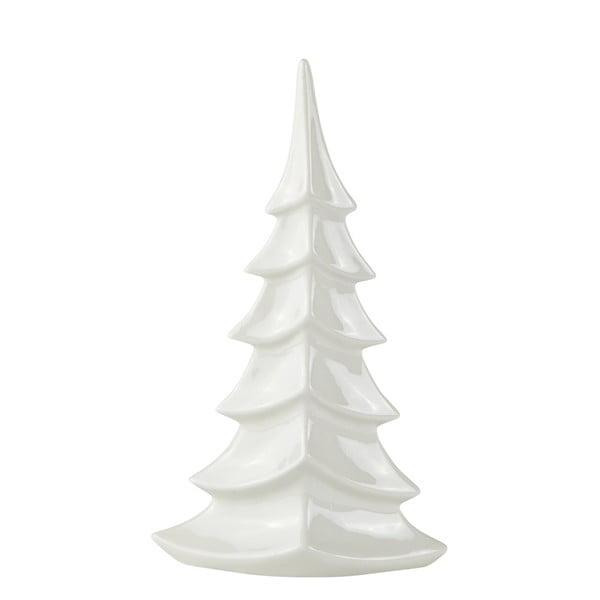 Biely keramický dekoratívny vianočný stromček KJ Collection, výška 27,5 cm
