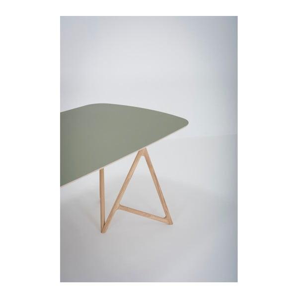 Jídelní stůl z masivního dubového dřeva se zelenou deskou Gazzda Koza, 220x90cm