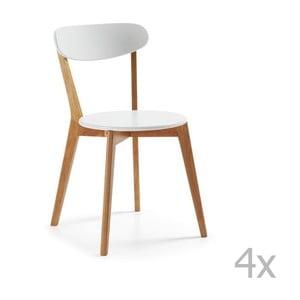 Sada 4 bílých židlí s dřevěným podnožím La Forma Luana