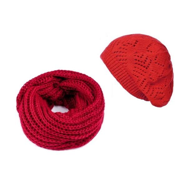Červená čepice se šálou Lavaii Winter