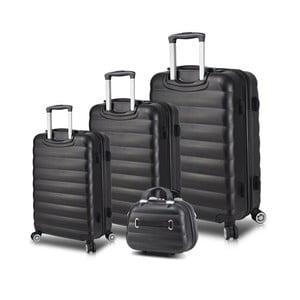 Sada 3 černých cestovních kufrů na kolečkách s USB porty a příručního kufříku My Valice RESSO Travel Set