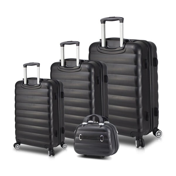 Zestaw 3 czarnych walizek na kółkach z USB i kuferka podróżnego My Valice RESSO Travel Set