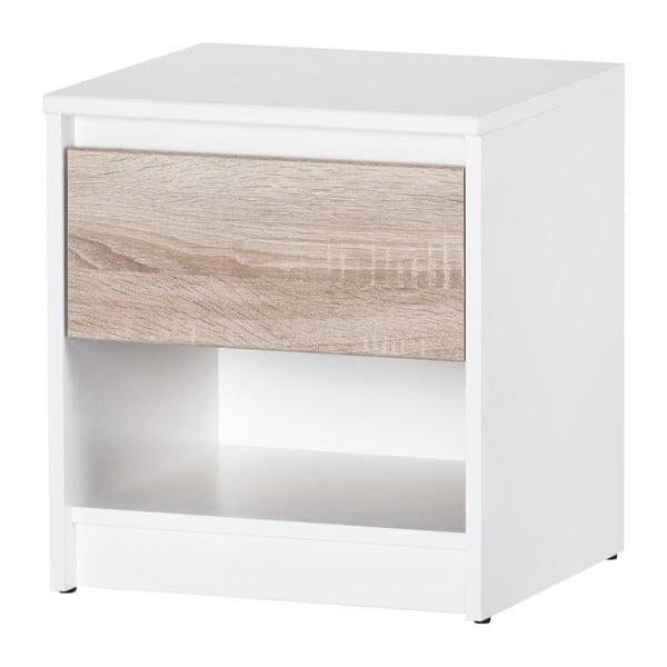 Noční stolek s dubovým a bílým dekorem Szynaka Meble Wenecja